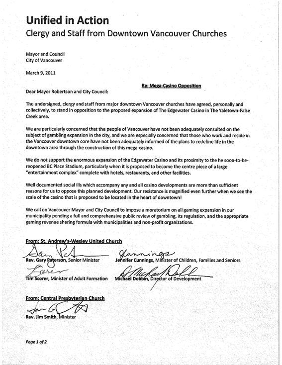 Peter elliott vancouver not vegas the following is an historic letter from major downtown vancouver churches altavistaventures Images