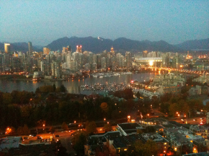 View of site of proposed Edgewater casino at BC Place Stadium (where the bright billboard is)
